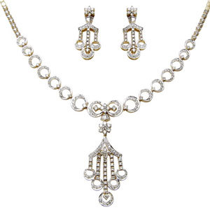 White Diamond Gold Necklace Earring Set
