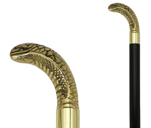 Brass Cobra Head Walking Stick