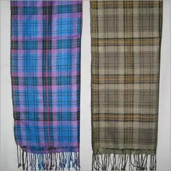 VISCOSE AND COTTON CHECK STOLES