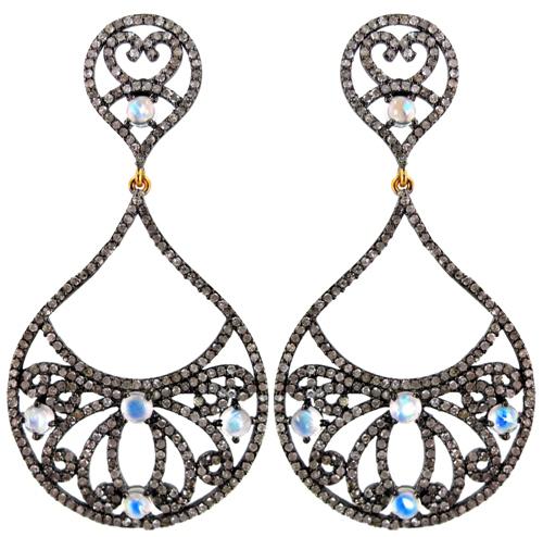 Pave Diamond Silver Filigree Gemstone Earrings