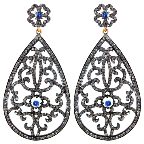Moonstone Silver Gold Pave Diamond Earrings