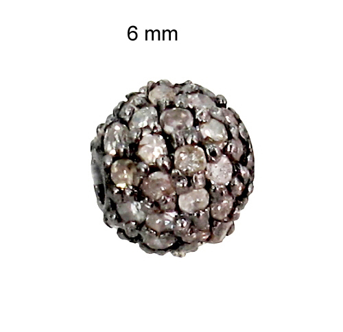 6MM Sterling Silver Pave Diamond Bead Finding