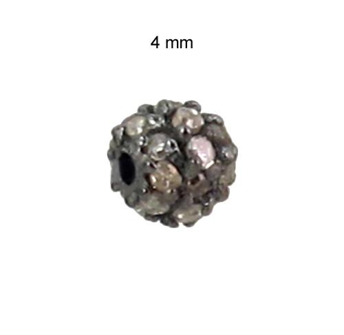 92.5 Sterling Silver 4 MM Diamond Bead