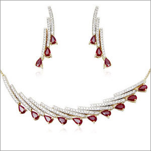 Drop Cut Ruby Gemstone Diamond Necklace Set