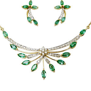 designs tanmaniya, gold necklace set studded with gemstones, marquise, pave setting necklace set