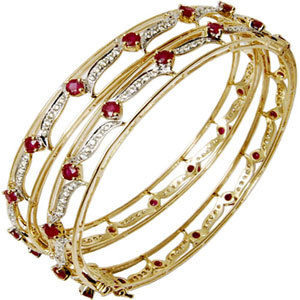 Red Stone Studded Gold Bangles Supplier