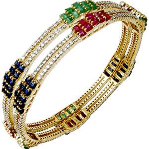 Newest Design Diamond Multi Gemstone Bangles