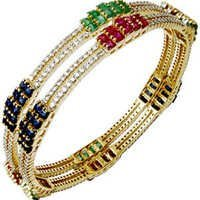 Newest Design Diamond Multi Gemstone Bangles