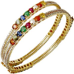 Round Navratna Gemstone Gold Bangle Exporter