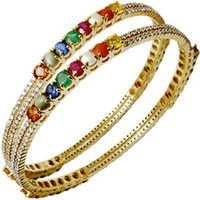 Round Navratna Gemstone Gold Bangle Exporter