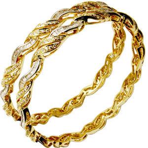 Wavy Pave Set Diamond Yellow Gold Bangle