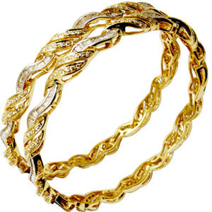 diamond pave setting bangles jewelrytwo tone gold bangles 2013 latest designer catalog