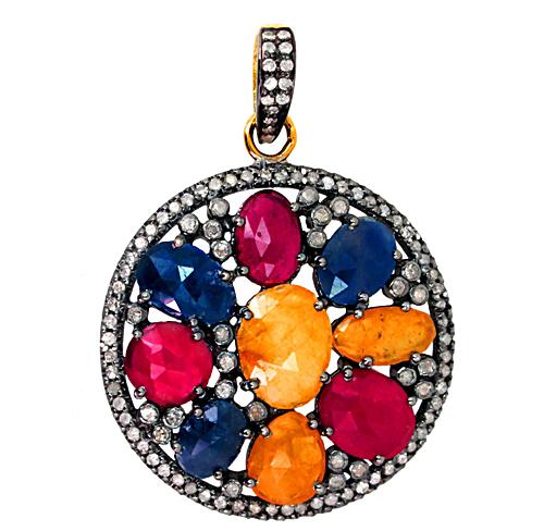Multi Sapphire Gemstone Pendant Jewelry