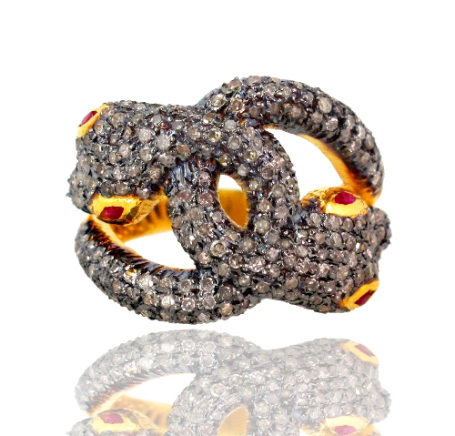 Pave Diamond Snake Ring