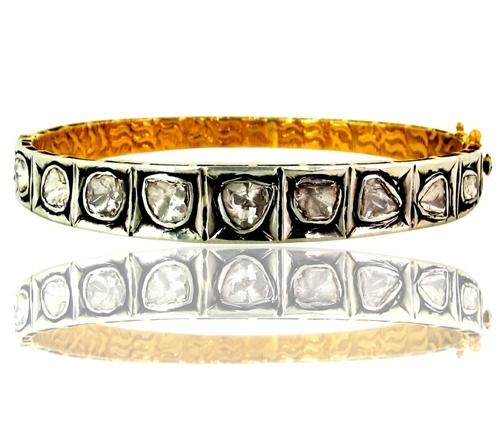 Gold Rose Cut Diamond Bangle Jewelry