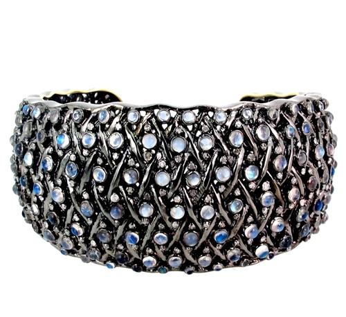 Gold Silver Moonstone Diamond Cuff Bracelet