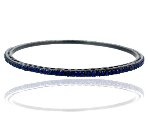 Blue Sapphire Gemstone Silver Sleek Bangle