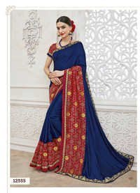 Blue Embroidery Designer Saree
