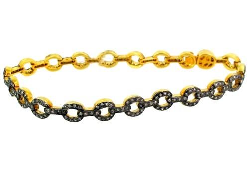 14k Gold Diamond Link Chain Bracelet