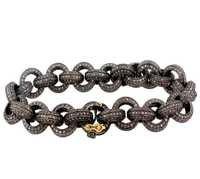 Precious Pave Diamond Gold Link Bracelet