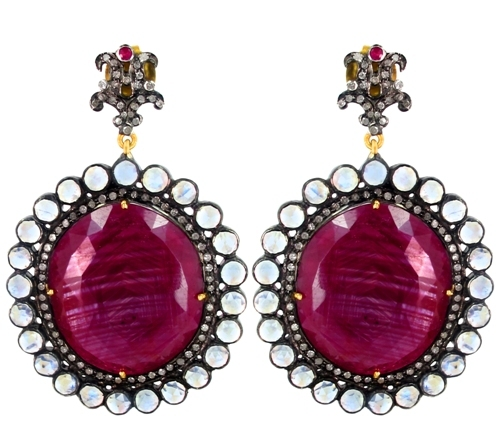 Diamond Precious Ruby Gemstone Earrings