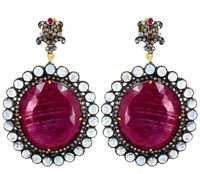 Diamond Precious Ruby Gemstone Earrings