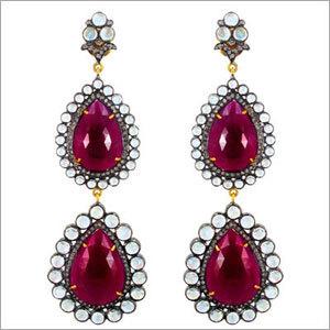 14k Gold Ruby Gemstone Long Dangle Earrings