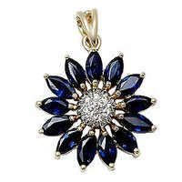 14k yellow gold diamond blue sapphire pendant,marquise sapphire, latest gold pendant design with g