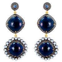 Blue Sapphire Studded Diamond Gold Earrings