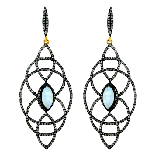 Pave Diamond Gold Filigree Earrings