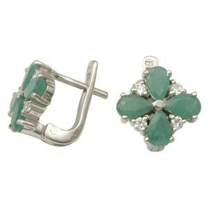 925 Sterling Silver Earring Stud For Girls Emeral