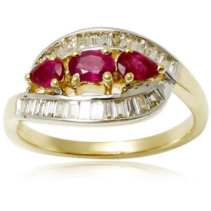 14k white gold diamond and ruby ring, womens engagement jewelry ring, blood ruby diamond gold ring