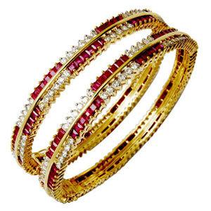 Gold Bangle With Princess Cut Ruby Round Diamond