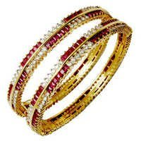 Gold Bangle With Princess Cut Ruby Round Diamond