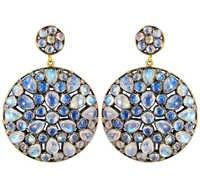 Round Rainbow Blue Moon Gemstone Earrings