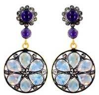 Silver Gemstone Diamond Dangle Earrings