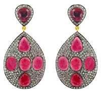 Pink Tourmaline Gemstone Pave Diamond Earrings