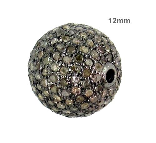 12 MM Pave Diamond Silver Beads