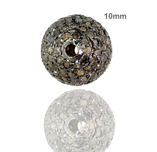92.5 Sterling Silver 10 MM Pave Bead