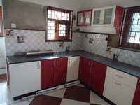 Red and white colour kitchen