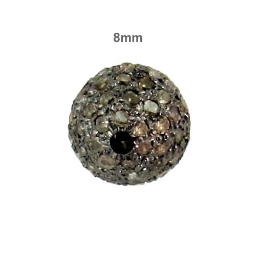 Pave Diamond 8 MM Silver Bead