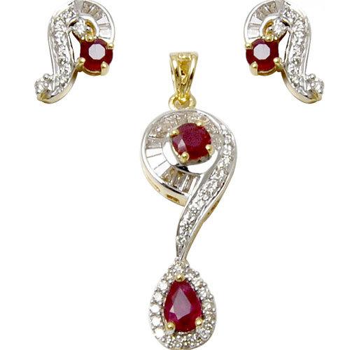 Red ruby and diamond gold pendant set, fashionable designer, micro pave  pendant design