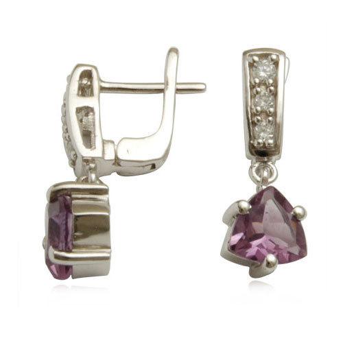 pave setting cz trillion amethyst loop earrings long hanging drop sterling silver gemstone drop