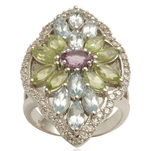 multi colored gemstone semiprecious silver ring fancy design ring wholesale