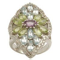 multi colored gemstone semiprecious silver ring fancy design ring wholesale