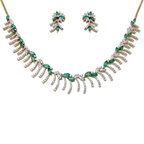 EMERALD NECKLACE SET WITH DIAMONDS IN GOLD, DESIGNER GOLDEN ,DIAMONDS JEWELRY SET IN YELLOW GOL