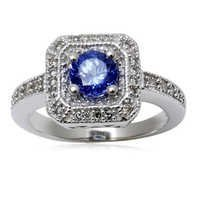 WEDDING AND ENGAGEMENT RING TANZANITE RING DESIGN WITH DIAMONDS IN WHITE GOLDGEMSTONE FOR WOMEN