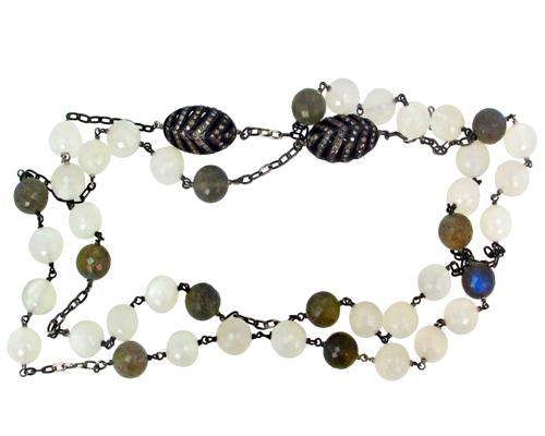 Pave Diamond Gemstone Beaded Necklace