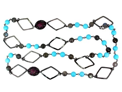 Pave Diamond Silver Beads Gemstone Necklace
