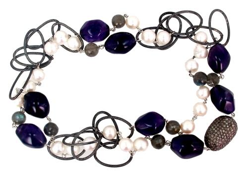 Diamond Multi Gemstone Beaded Necklace